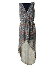 LOVE TOPSHOP ART DECO FLORAL PRINT WRAP ASYMMETRIC HI LOW MAXI DRESS S/M 8 10!