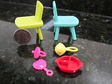 Barbie Doll Size Preschool Baby Accessories Chairs Rattle Pacifier Feeding Dish