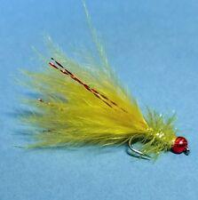 3 x Black Buzzer Flies Size 12 Barbless Chartreuse Rib and Flexi Floss Cheeks