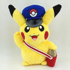 "Special Delivery Pikachu Pokemon Plush Toy Postman Cap Bag Stuffed Animal New 7"""