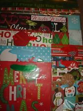 HOLIDAY GIFT BAGS 12 PIECE GIFT BAG SET DIFFERENT DESIGNS