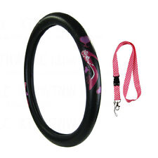 New Pink High Heel Car Truck Synthetic Leather Steering Wheel Cover & Lanyard