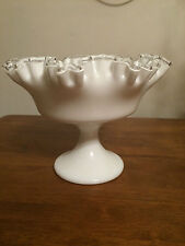 Fenton Silver Crest Milk Glass Footed Dish, Glass Compote