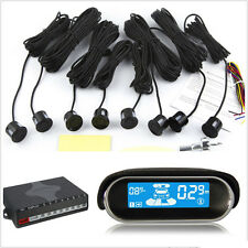 Double LCD Display 8 Black Parking Sensors Car Reverse Radar Alarm Kit Dual-core
