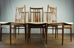 Vintage Chair Chairs 6 Pieces Walnut Danish Modern 60s Retro Mid-Century 60er