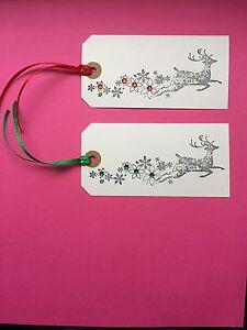 10 X HANDMADE LARGE WHITE XMAS CHRISTMAS DEER REINDEER  GIFT TAGS GEMS