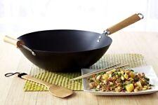 New Nonstick WOK Carbon Steel 12 Inch With Wooden Handles Fry Cookware Pan Pot
