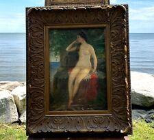 c 1890 NUDE Oil Painting Young Woman Portrait Signed PERCIVAL DE LUCE on Canvas