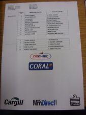 19/11/2011 Colour Teamsheet: Hereford United v Burton Albion  (Folded). Thanks f