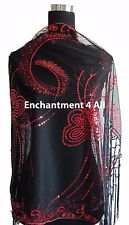 Elegant Oblong Lace Butterfly Floral Art Scarf Wrap w/ Sequin Black/Red