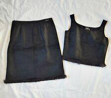 Gianfranco Ferre Jeans black skirt + vest top Fur trim Made in Italy VGC UK 8
