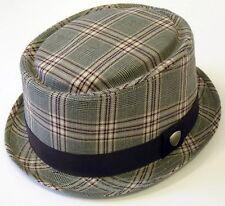 GIFTS FOR MEN Ben Sherman Mens Tartan Check Trilby Fedora Hat Tannin Brown L/XL