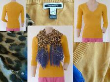 2er Set Mango Pullover V-Ausschnitt ¾ Arm Gelb S + Schal Leopard Blau Strass Top