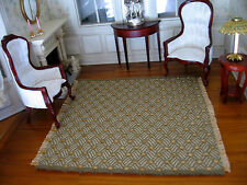 dollhouse doll house miniature WOVEN RUG CARPET ACCENT RUG GREEN GOLD
