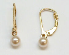 Akoya cultured pearl leverback dangle earring 14K Solid Yellow Gold 5 millimeter