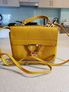 Authentic Coccinelle Crossbody Small Leather Bag In Mustard