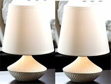 """Set of Two (2) ** 10"""" DIMPLED WHITE CERAMIC TABLE LAMPS & OVERSIZED SHADES * NIB"""