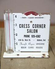 New listing Vintage Advertising Rain Gauge Recorder Cress Corner Beauty Salon Lingerie metal
