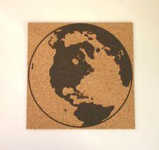 World Map Globe Etched Cork Board Push Pin Bulletin Board Teacher Gift