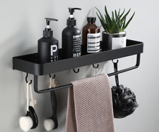 New Shower Caddy Towel Bar Hangers Storage Shelf Space Aluminum Black Wall Mount