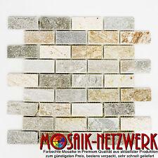 Naturstein Mosaik beige grau gelb Quarzit Verbund Brick | Art: 36-0208 | 1 qm