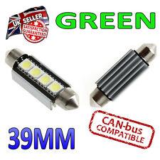 2 x 39 millimetri Festoon Green LED CANBUS TARGA INTERNI 4 SMD Lampadine 239