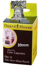 10 Silver Bullion 1oz Round Coin Capsule Direct Fit GUARDHOUSE Holder 39mm Case