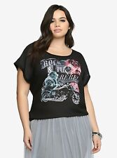 Torrid size 2X 18 20 Rock and Roll Rebel Chiffon Front Shirt Top Black Nwot