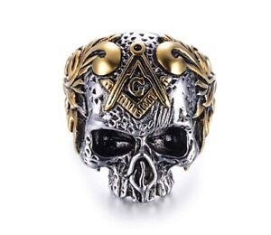 Stainless Steel Gold IP Masonic Skull Ring - Freemason 2 Tone Men Biker Ring