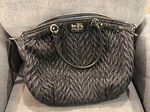 COACH MADISON QUILTED CHEVRON NYLON HANDBAG PURSE  70TH ANNIVERSARY