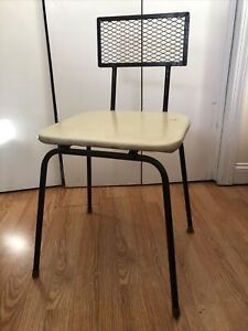 Vintage LOROMAN Metal Grid Desk Chair Mid Century Modern Industrial Chic Retro