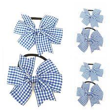 "Back to school set 2 royal blue gingham /& white glitter 1.5/"" pigtails bobbles"