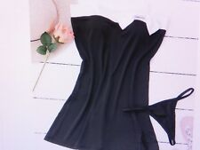 Women's Black and White Swim Dress or Night Dress with Thongs - size 8-10