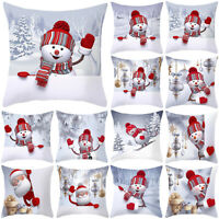 Christmas Snowman Santa Cushion Covers Throw Pillow Case Home Sofa Xmas Decor
