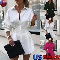 Women Sexy V Neck Mini Shirt Dress OL Ladies Long Sleeve Button Blouse Tops Tee