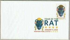 US CHINESE 2020 SCOTT #5428 LUNAR NEW YEAR OF THE RAT FOREVER STAMP DCP FDC NIP