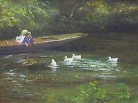 Lovely Ted Dyer Original Oil Painting - Children Watching The Ducks