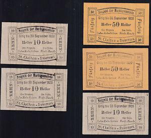 5x Österreich Austria St. Gallen: 3x 10 + 2x 50 Heller - Lebensmittelkarten