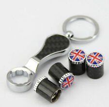 Carbon Fiber Anti-theft England UK Flag Car Wheel Tire Valve Stem Caps+Keychain