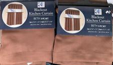 Blackout Kitchen Curtains Beth 3 Pc Set Brown  You Get 2 Sets