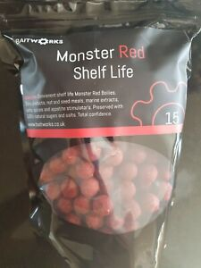 15mm MONSTER RED SHELFLIFE BOILIES,BAITWORKS,CARP FISHING.TRIAL PACK,3 POSTAGE