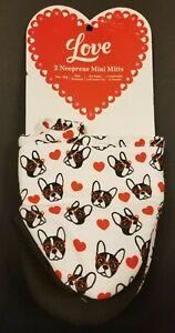 """ PUG LOVE "" 2-Pack Mini Oven Mitts Glove Pot Holder Dog Puppy Hearts Valentines"