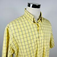 Brooks Brothers Mens Large Non Iron Casual Button Down Shirt Blue Yellow Plaid