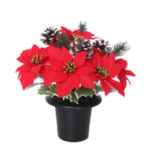 Artificial Poinsettia and Frosted Cones Grave Pot