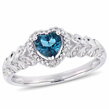 Amour 10k White Gold London-Blue Topaz and Diamond Heart Halo Ring