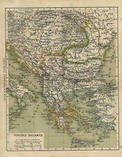 Penisola Balcanica Ulrico Hoepli Stampa Ottocentesca 1890