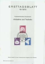 BRD ETB Ersttagsblatt 1975 Industrie und Technik Mi.Nr. 847, 849 und 852
