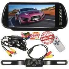 "Wireless 7"" LCD Mirror Monitor + IR Car Rear View Reversing Camera Backup Kit"