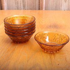 6 Tiara Indiana Amber Glass Sandwich Pattern Berry Bowls Vintage