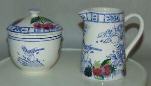 Vintage GIEN Sugar Bowl & Creamer OISEAU BLEU Fruits